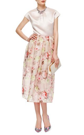 Carven - Floral-Print Woven Silk Midi Skirt
