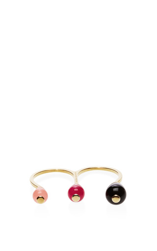 Candy gold-plated triple stone ring by DELFINA DELETTREZ Now Available on Moda Operandi