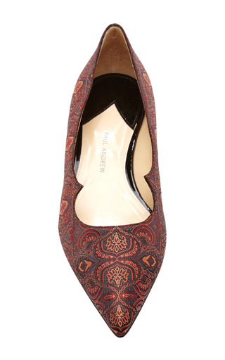 Zoya Pointed Toe Silk-Jacquard Flats by Paul Andrew Now Available on Moda Operandi