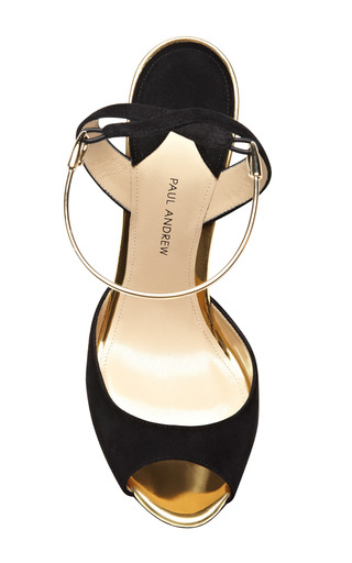 M'o Exclusive: Delphi Metallic Trimmed Suede Wedges by PAUL ANDREW Now Available on Moda Operandi