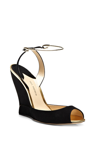 M'O Exclusive: Delphi Metallic-Trimmed Suede Wedges by Paul Andrew Now Available on Moda Operandi