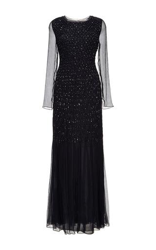 Oscar de la Renta - Embellished Silk-Chiffon Smocked Gown