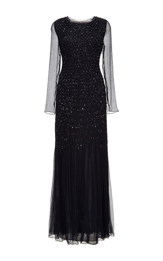 Embellished Silk Chiffon Smocked Gown by OSCAR DE LA RENTA Now Available on Moda Operandi