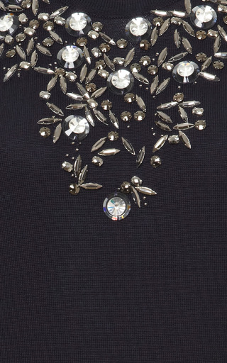Cashmere-Silk Floral-Jewel Pullover by Oscar de la Renta Now Available on Moda Operandi