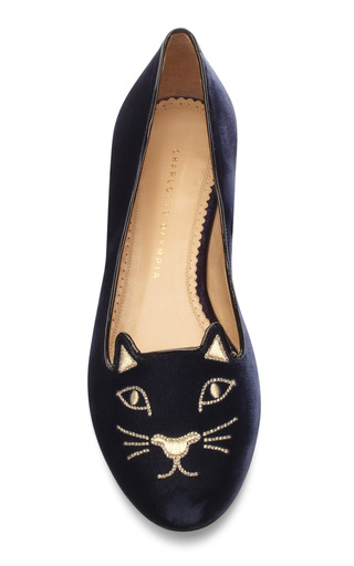 Charlotte Olympia - Kitty Embroidered Velvet Flats