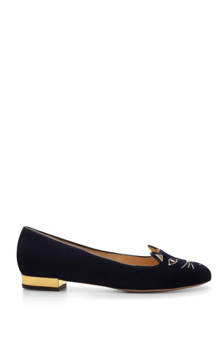 Kitty Embroidered Velvet Flats by Charlotte Olympia Now Available on Moda Operandi