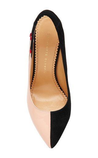 Charlotte Olympia - Hands Up Suede and Patent Leather Pumps