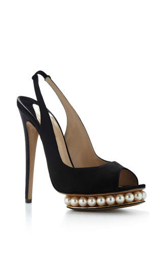 Swarovski Pearl-Embellished Satin Platform Pumps by Nicholas Kirkwood Now Available on Moda Operandi