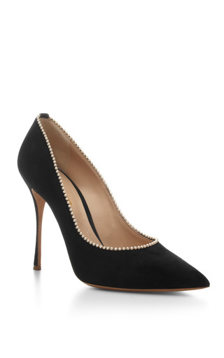 Pearl-Embellished Suede Pumps by Nicholas Kirkwood Now Available on Moda Operandi