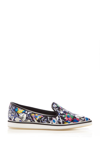 Hula Printed Silk-Twill Flats by Nicholas Kirkwood Now Available on Moda Operandi