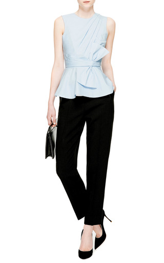 Draped-Bow Cotton Peplum Top by Prabal Gurung Now Available on Moda Operandi