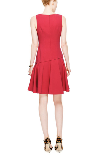 Flared Crepe and Draped Satin V-Neck Dress by Prabal Gurung Now Available on Moda Operandi