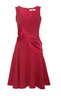 Flared Crepe and Draped Satin V-Neck Dress by Prabal Gurung for Preorder on Moda Operandi