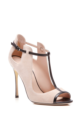 Emperor Leather-Trimmed Suede Pumps by Sergio Rossi for Preorder on Moda Operandi