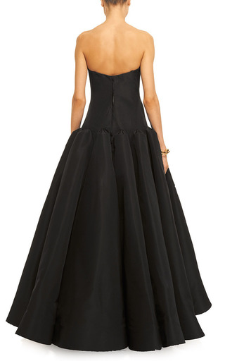 Box Pleated Silk Faille Gown In Black by ZAC POSEN Now Available on Moda Operandi