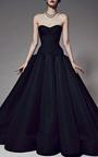 Zac Posen - Box-Pleated Silk-Faille Gown in Black