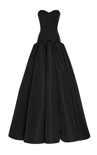 Box-Pleated Silk-Faille Gown in Black by Zac Posen Now Available on Moda Operandi