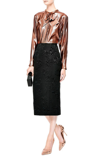 Bow-Detail Lamé Blouse by Rochas Now Available on Moda Operandi