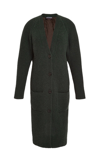 Long Wool-Blend and Metallic-Jacquard Cardigan by Rochas Now Available on Moda Operandi