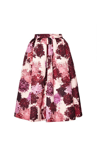 Floral Print Duchesse Satin Skirt by MSGM Now Available on Moda Operandi