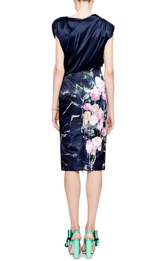 Floral-Print Duchesse Satin Skirt by MSGM Now Available on Moda Operandi