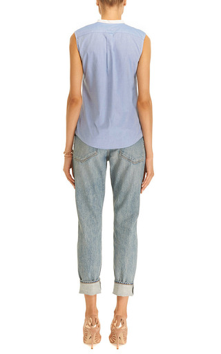 Harvey Faircloth - Ruffled Chambray Top