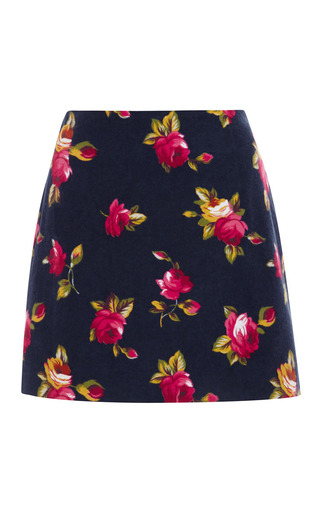 M'O Exclusive: Floral-Print Brushed-Cotton Skirt by Harvey Faircloth Now Available on Moda Operandi