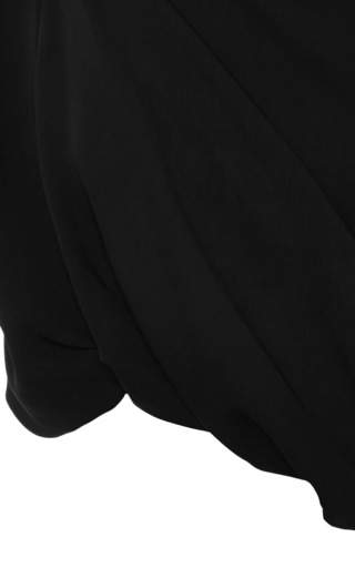 Ellery - Buttercup Draped Black Crepe Crop Top
