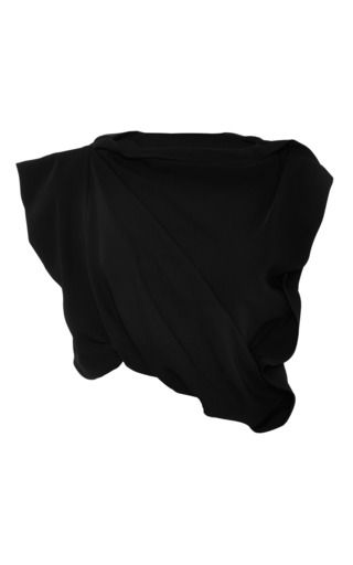 Buttercup draped black crepe crop top by ELLERY Available Now on Moda Operandi