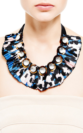Embellished Silk-Twill Necklace by Marni Now Available on Moda Operandi