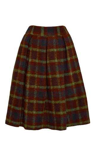 Plaid Wool-Blend Skirt by Stella Jean Now Available on Moda Operandi