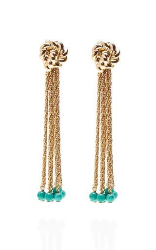 Palazzo 18K Gold Rope and Turquoise Drop Earrings by Aurélie Bidermann Now Available on Moda Operandi
