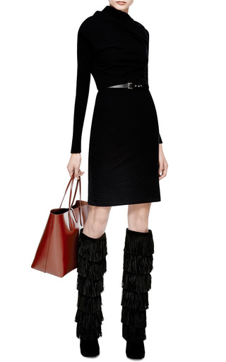 Tara Knee-High Fringed Suede Boots by Paul Andrew for Preorder on Moda Operandi