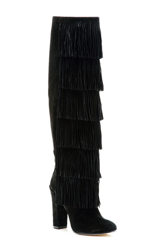 Tara Knee-High Fringed Suede Boots by Paul Andrew Now Available on Moda Operandi