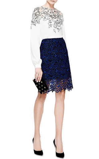 Giupure Lace Skirt by Oscar de la Renta Now Available on Moda Operandi