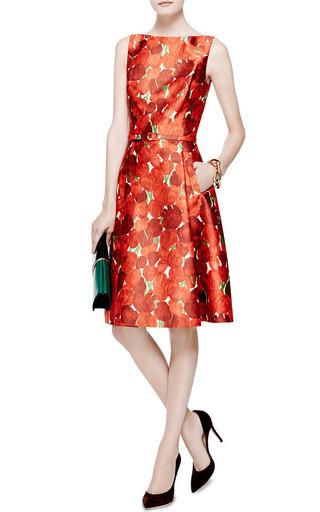 Rose-Print Silk-Blend Mikado Dress by Oscar de la Renta Now Available on Moda Operandi