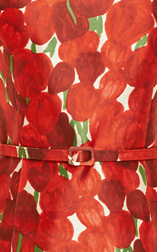 Rose-Print Silk-Blend Mikado Dress by Oscar de la Renta for Preorder on Moda Operandi