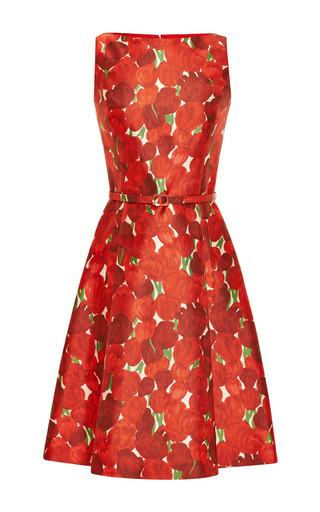 Rose-Print Silk-Blend Mikado Dress by Oscar de la Renta Now Available on Moda Operandi