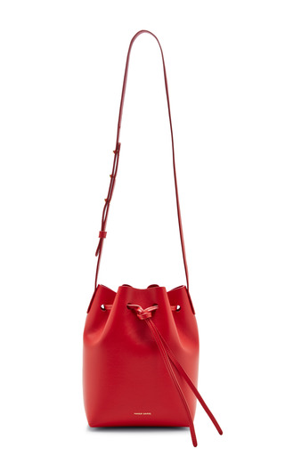 Mini leather bucket bag in red by MANSUR GAVRIEL Now Available on Moda Operandi