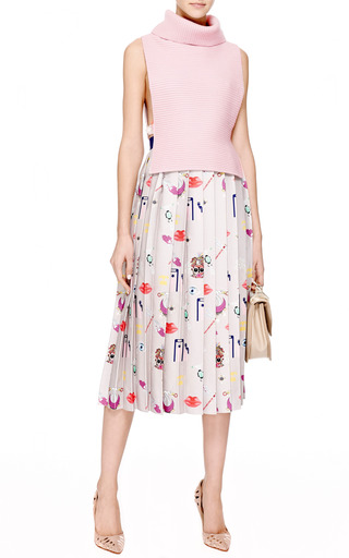 Vaya Printed Pleated Satin-Twill Midi Skirt by Mary Katrantzou Now Available on Moda Operandi