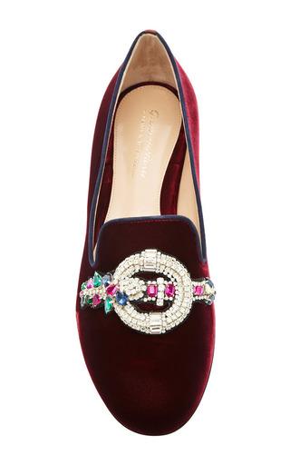 Mary Katrantzou - Scott Emblem Embroidered Velvet Loafers