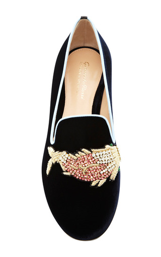 Scott Fish Embroidered Velvet Loafers by Mary Katrantzou Now Available on Moda Operandi