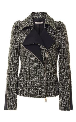 Tweed Biker Jacket by BOUCHRA JARRAR Now Available on Moda Operandi