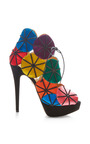 Charlotte Olympia - Parasol Satin and Suede Platform Sandals