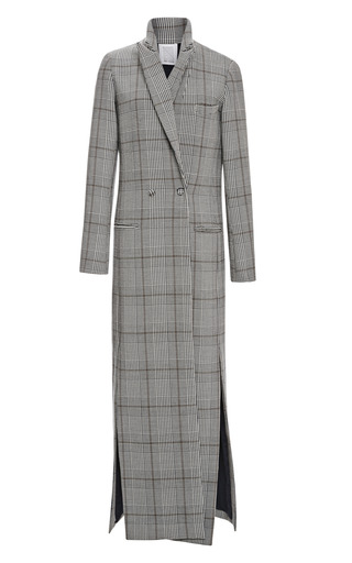 Long Prince Of Wales Check Cotton Coat by ROSIE ASSOULIN Now Available on Moda Operandi