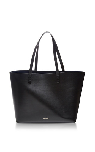Large leather tote in black by MANSUR GAVRIEL Available Now on Moda Operandi