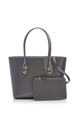 Rochas - Small Snakeskin-Trimmed Leather Tote