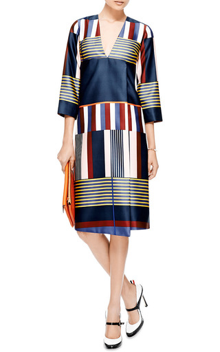 Striped Faux Wrap Satin Dress by Suno Now Available on Moda Operandi