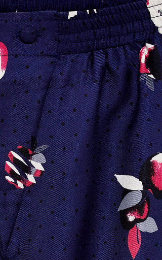 Dania Apple Print Silk Shorts by PIAMITA Now Available on Moda Operandi