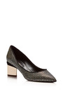 Metallic-Heel Jacquard Pumps by Nicholas Kirkwood Now Available on Moda Operandi